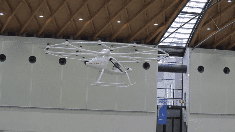 Intel shows off a battery operated flying car Volocopter at CES 2018