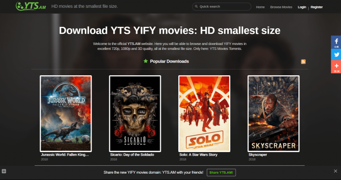 Top 10 best torrent sites- yts.am