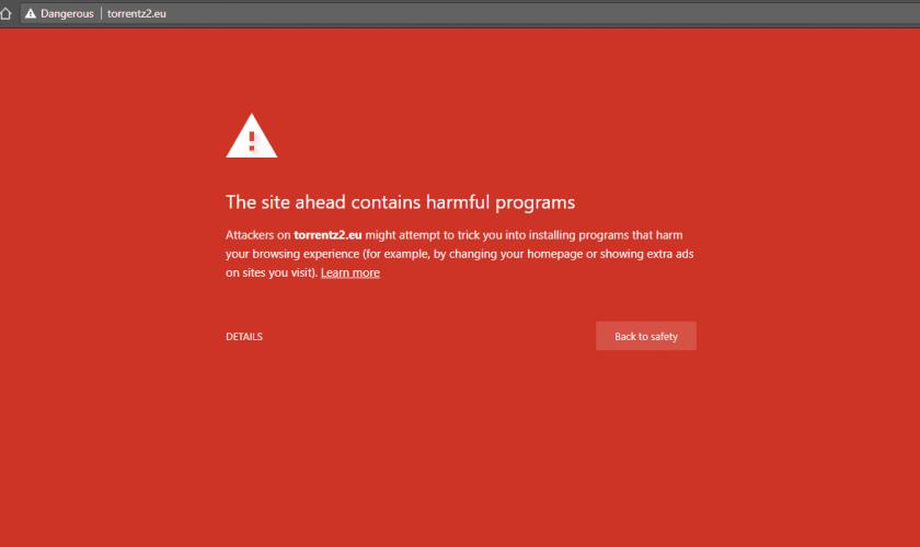 Torrentz2 blocked on Google Chrome and Firefox over 'harmful programs'
