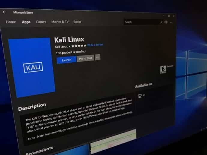 Kali Linux can now be downloaded from Microsoft Store » TechWorm