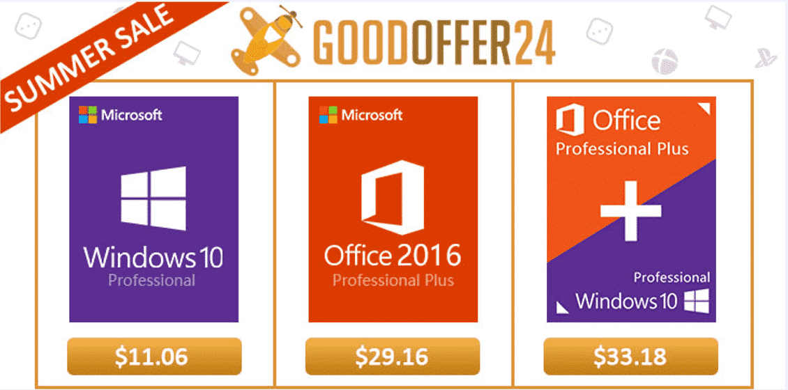 Goodoffer24 Summer Sale: Windows Pro $11.06, Office 2016 Pro $29.16 and More