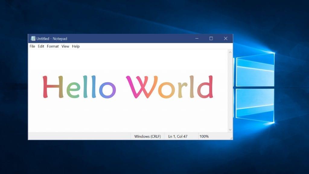 windows 10 notepad