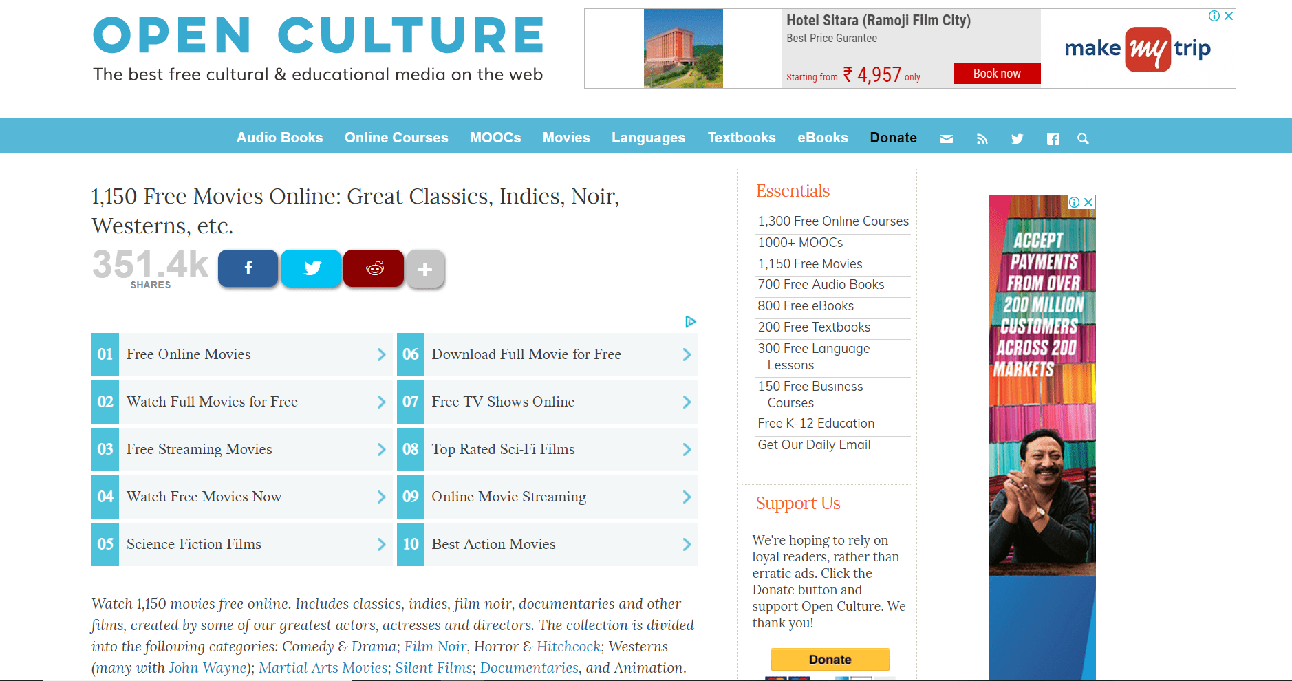 Top 10 Free Movie Download Websites- Open Culture
