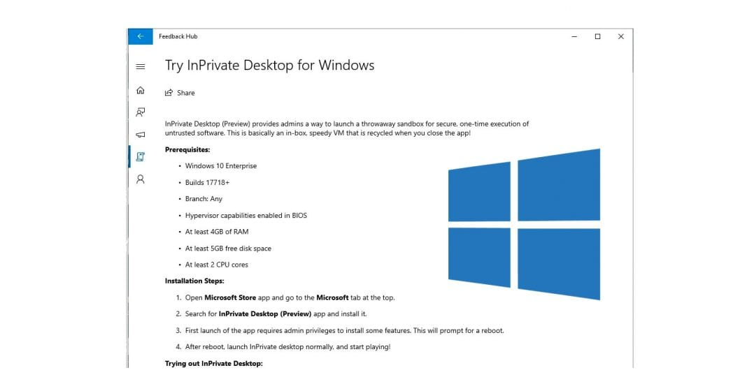 Microsoft is working on InPrivate Desktop sandbox feature for Windows 10