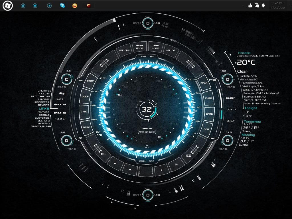 tech-a - best rainmeter skin for windows PC