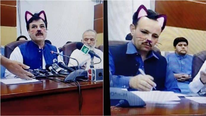 Pakistani politician's event live streamed on Facebook with cat filter 'on'