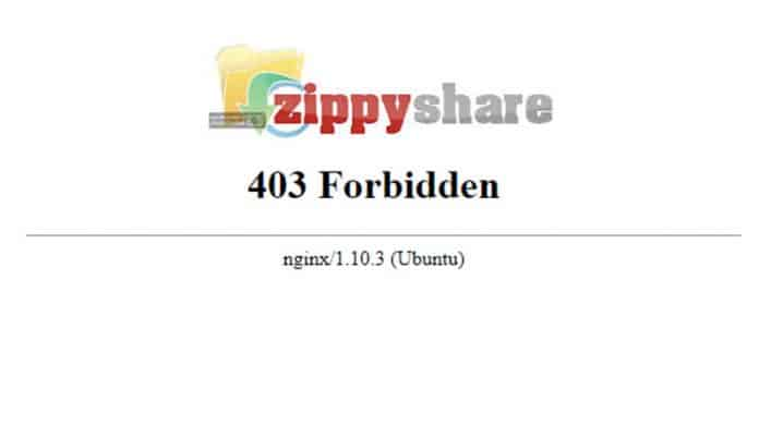 "Zippyshare shows ""Forbidden Message"" to visitors in Spain"