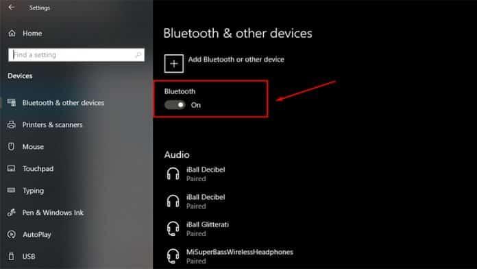 Turn On Bluetooth in windows 10