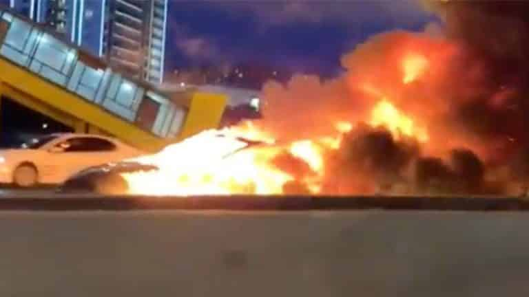 Tesla electric car on autopilot mode crashes into tow truck in Moscow, catches fire