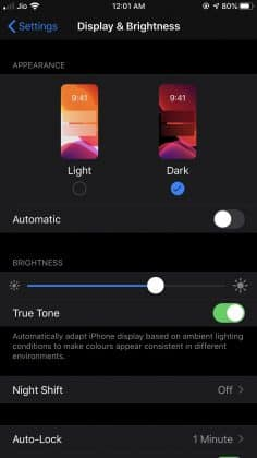 dark mode in settings