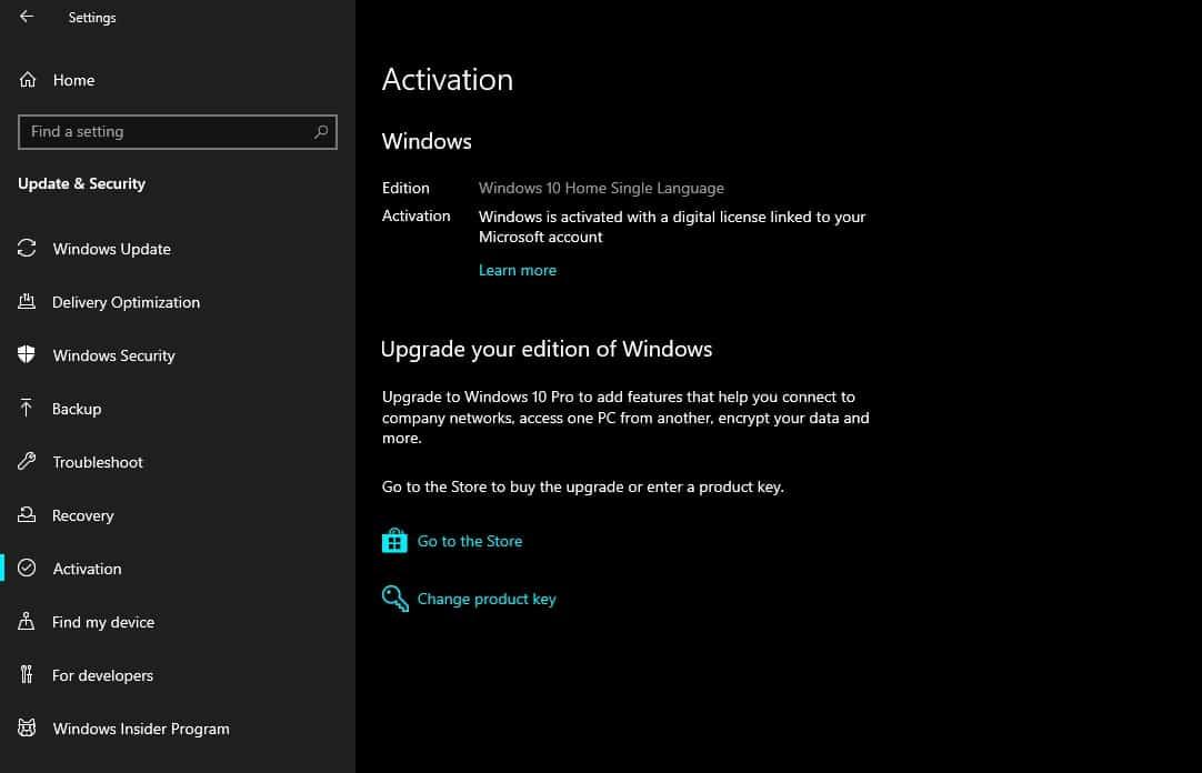 Digital Entitlement Windows 10