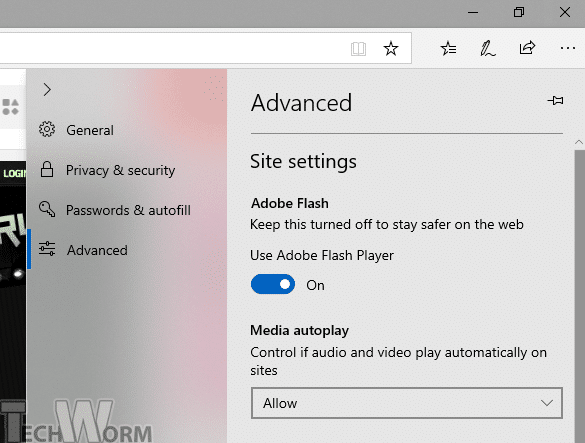Enable Flash for All Sites on Edge