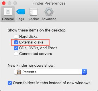 show external disk