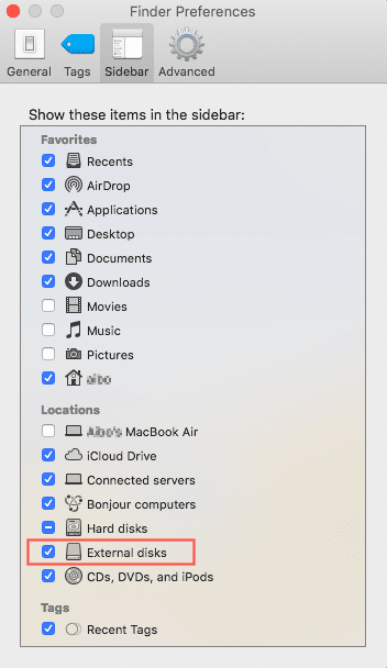 external disk in finder