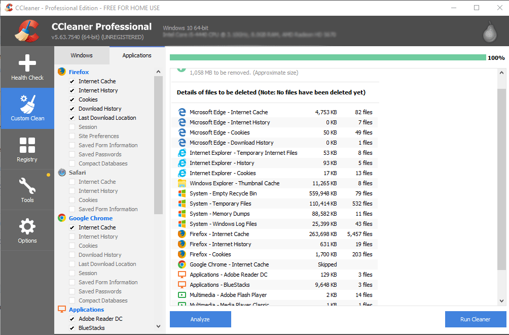 CCleaner Clear Cache Chrome