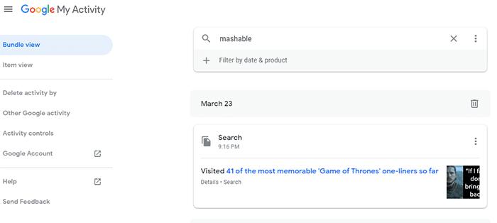 manage myactivity Google
