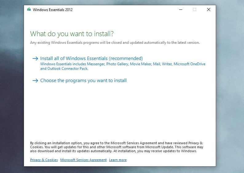 Windows Essential programs