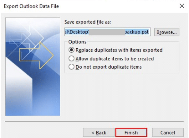 exported pst file options
