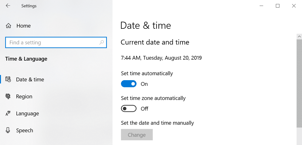 date and time windows 10