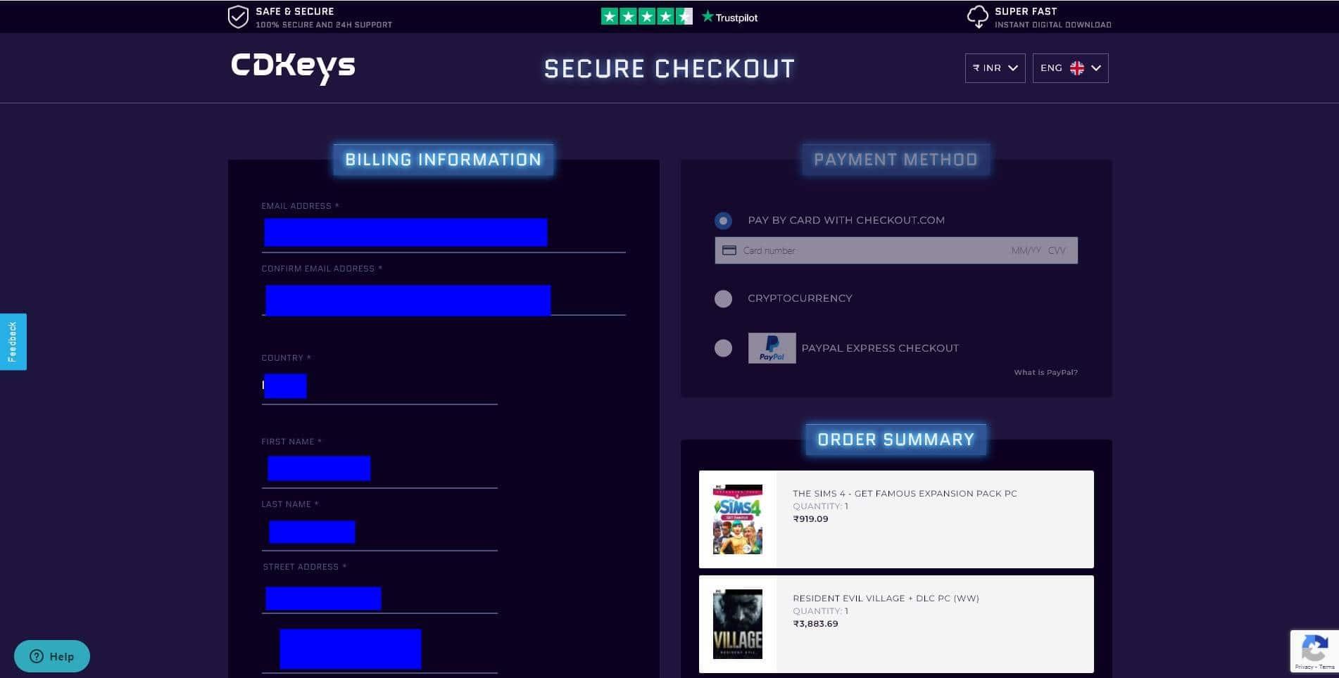 Buying game on cdkeys